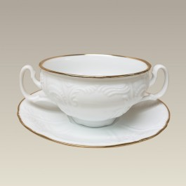12 oz. Chinese Bernadotte Cream Soup and Saucer, GOLD BANDED