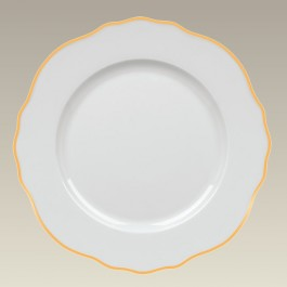 """11"""" Scalloped Rim plate with Gold Trim"""