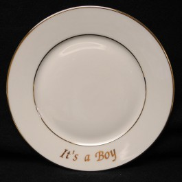 """It's a Boy"" Double Gold Banded Rim Plate, 6.375"""
