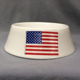 "Wide Bottom Dog Bowl, 7.5"" w/ Flag Decoration"
