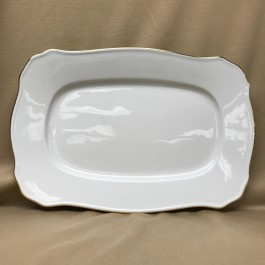 "Gold Banded Scrolled Platter, 12.625"" x 8.5"""