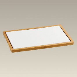 """11.375"""" Wood Cheese Board with Tile"""