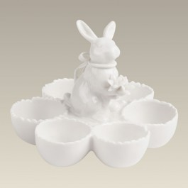 Six Section Egg Holder with Bunny, 4""