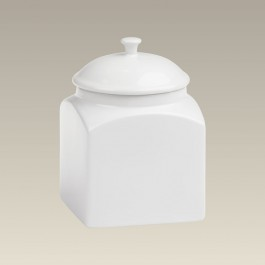 "Square Stoneware Canister, 7.5"", SELECTED SECONDS"