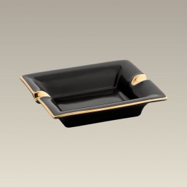 """5.5"""" Black Ashtray with Gold Trim, SELECTED SECONDS"""