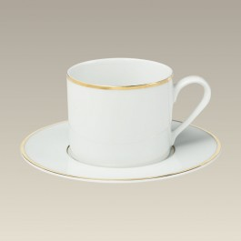 Double Gold Banded Cup & Saucer, 7.5 oz