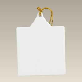 "Square Ornament with Hole, 3"" x 3.875"""
