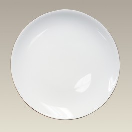 "10.625"" Gold Banded Porcelain Coupe Plate"