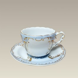 8 oz. Blue and Gold Cup and Saucer