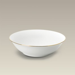 """Gold Banded Coupe Shaped Serving Bowl, 8.875"""""""