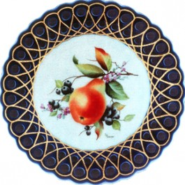 Meissen Pear and Blueberries by Ruth Cooper