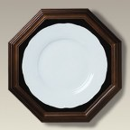 "Wood Octagonal Frame with Velvet Liner and Glass, up to 8.5"" plate"
