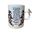Butterfly Handle Cream Colored Mug with Romans 12:2 Verse, 14 oz