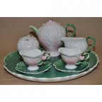 Rose Decorated Tea Set w/ Tray